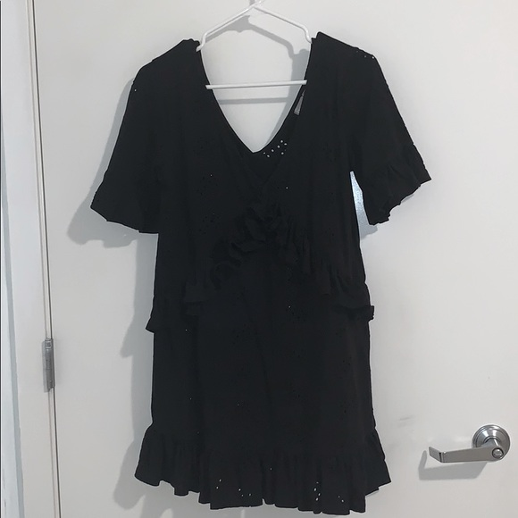 Black eyelet ruffle dress